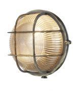 Admiral Solid Brass Round Outdoor Wall Light in an Antique Brass Finish IP64 - DAVID HUNT ADM5075
